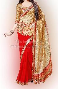Glamorous Red Copper Saree