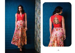 Semi Stitched Embroidered Gown