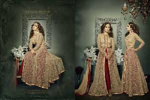 TOP OF NET FABRICS WITH BEAUTIFUL EMBROIDERY WORK & MIRROR WORK