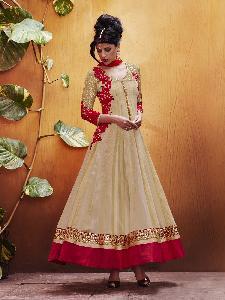 Striped kora Tikki net dupion & Laces Exclusive Readymade Designer Salwar Kameez