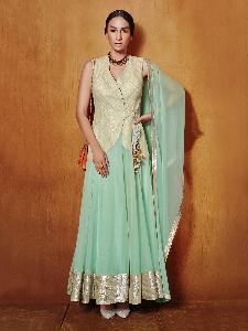 Net & Embroidered fabric & Tissue Exclusive Readymade Designer Salwar Kameez