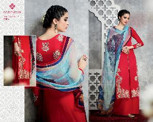 PURE COTTON SATIN SALWAR KAMEEZ WITH EMBROIDERY