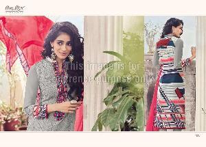 Designer Embroidered Suit with Chicken Work and Chiffon Dupatta