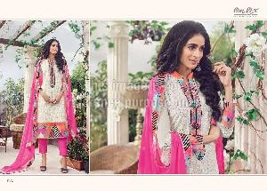 Printed White Suit with Multicolor Embroidery