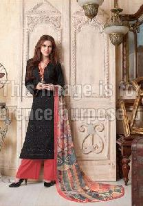 Black Printed Suit with Plazo