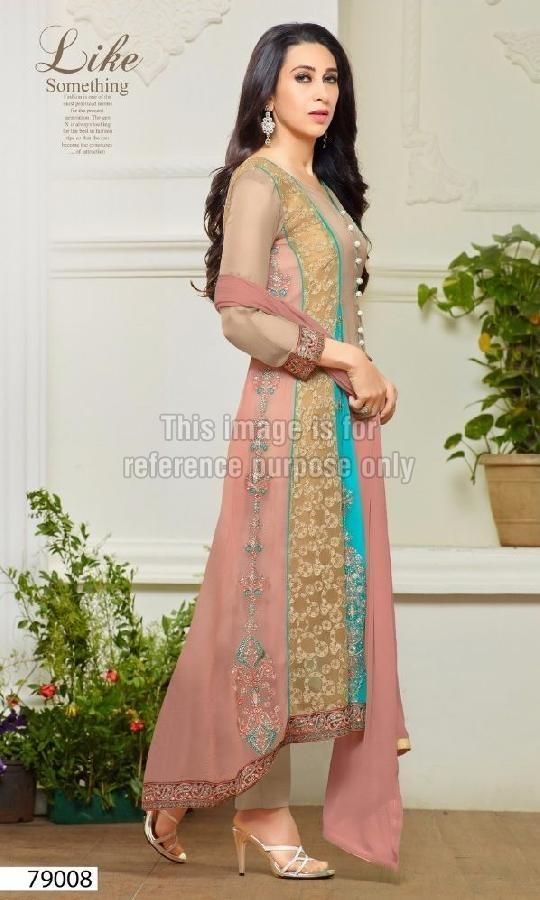 Long Straight Embroidered Suit with Plazo
