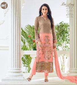 Designer Straight Cut Suit with Embroidery