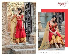 Red Mustard Designer Suit with Embroidery