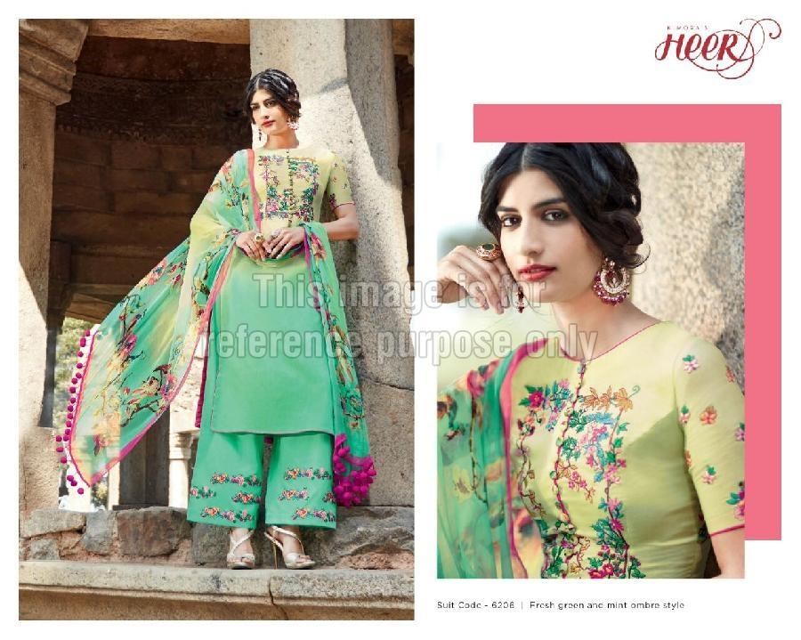 Designer Sea-Green Suit with Printed Dupatta