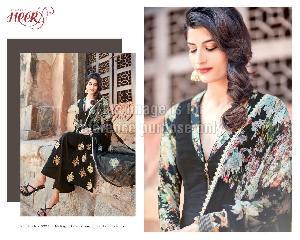 Black Floral Print Designer Suit with Printed Dupatta
