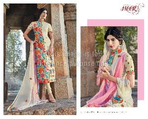 Multicolor Floral Print Embroidered Suit