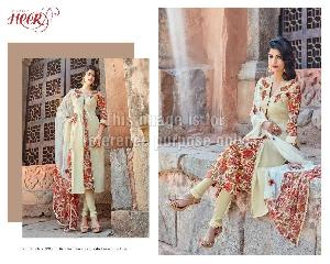 Floral Print Embroidered Suit with Printed Dupatta