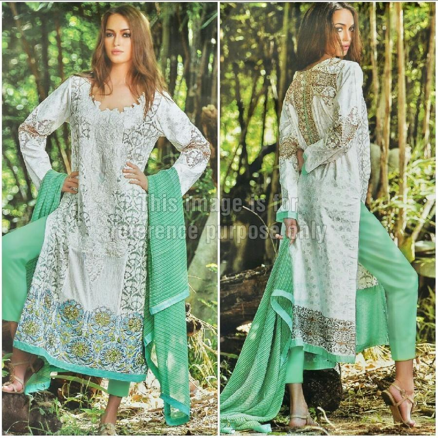 Elegant Designer Cambric Printed Suit and Chiffon Dupatta