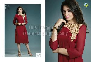 Designer Long Cape in Georgette with Embroidery