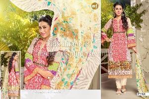 Designer Cotton Embroidered Suit with Chiffon Dupatta