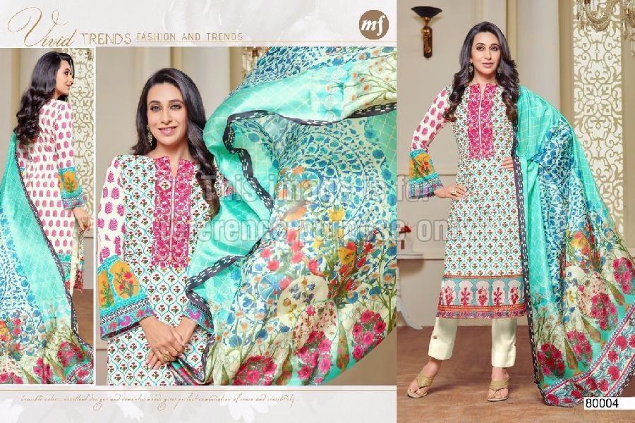 Lawn Cotton Designer Suit with Chiffon Dupatta