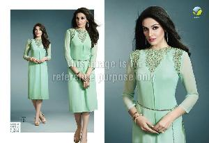 Sea-Green Pure Georgette Long Cape