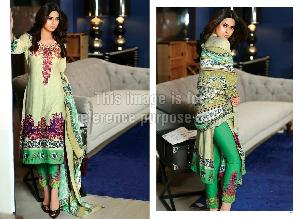 Designer Pakistani Lawn Cotton Suit with Printed Ciffon Dupatta