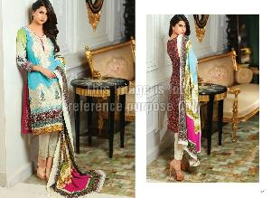 Embroidered Cotton Pakistani Suit with Chiffon Dupatta