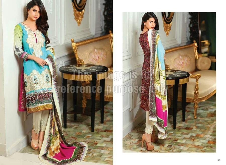 Embroidered Cotton Pakistani Suit with Chiffon Dupatta