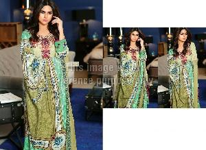 Pakistani Cotton Embroidered Suit with Printed Chiffon Dupatta