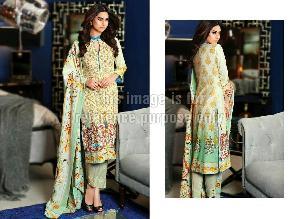 Lawn Cotton Pakistani Suit With Printed Chiffon Dupatta
