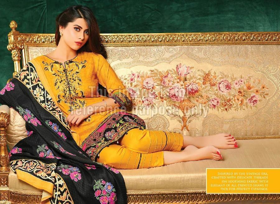 Pakistani Emroidered Suit with Chiffon Dupatta