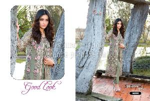 Floral Print Designer Suit in Georgette