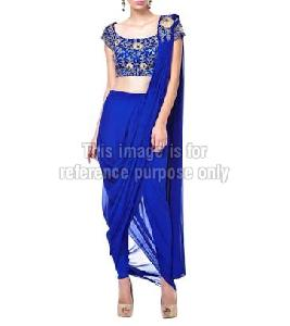 Blue Colored Blouse with Dhoti Styled Leggings