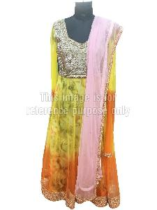 Yellow Orange Coloured Anarkali Suit with Dupatta