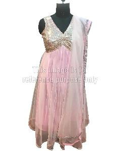 Baby Pink Coloured Net Suit with Dupatta