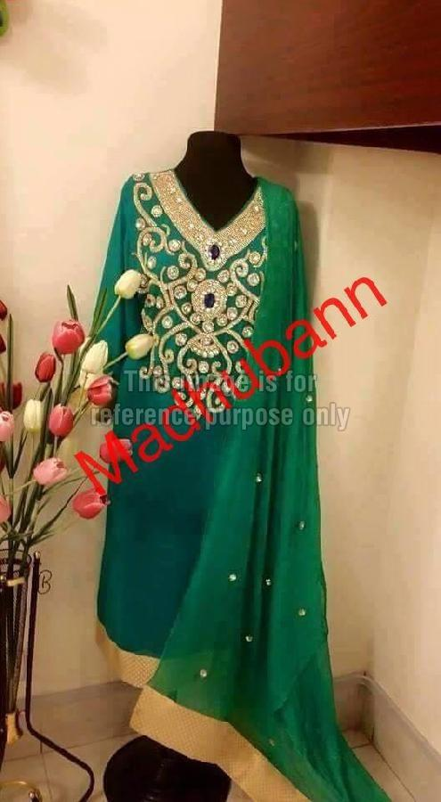 Designer Green Coloured Suit With Dupatta