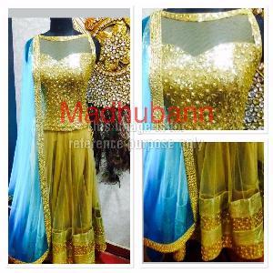 Golden Coloured Shimmer Lehenga With Blue Dupatta
