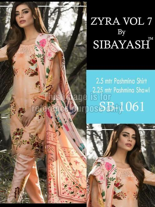 Peach Coloured Embroidered Pure Pashmina Suit