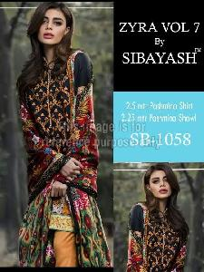 Black Coloured Embroidered Pure Pashmina Suit