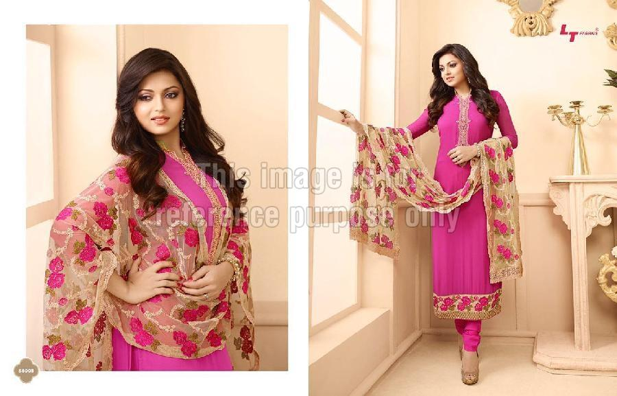 Designer Straight Cut Suit With Printed Dupatta