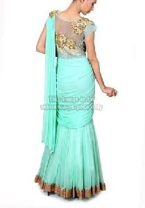 Flared Lehenga Saree with Net Blouse