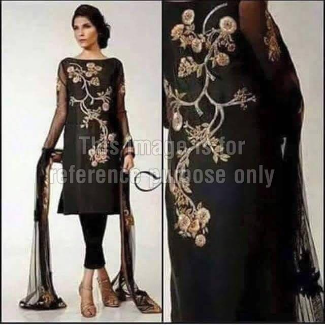 Embroidered Black Coloured Suit With Dupatta