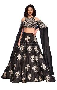 Off-Shoulder Black Coloured Embroidered Lehenga