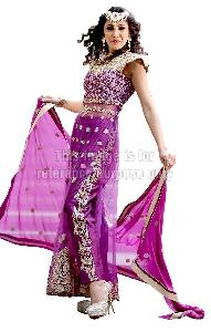 Purple Coloured Long Net Kurti With Dupatta