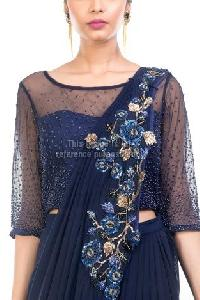 Navy Blue Colored Crop Top with Skirt and Dupatta