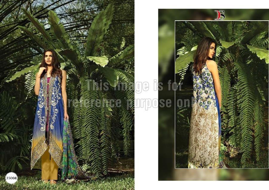 Blue & Mustard Coloured Pure Pashmina Suit