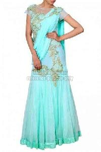 Sea Green Colored Lehenga Saree with Blouse