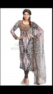 Designer Black Kurti with Printed Dupatta