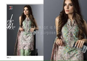 Green Coloured Embroidered Designer Suit