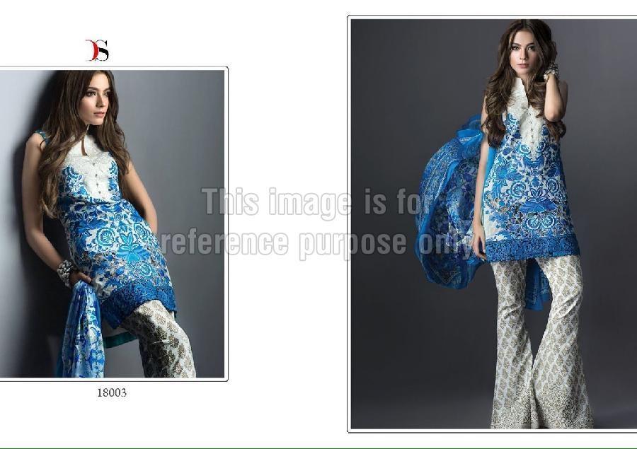 Blue Coloured Designer Printed Top With Dupatta