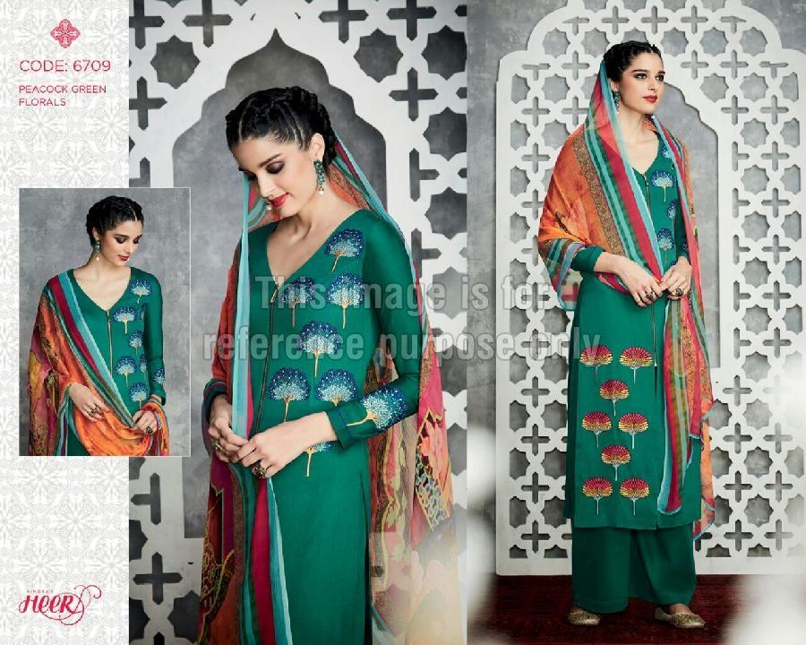 Green Coloured Simple Palazzo Suit With Dupatta