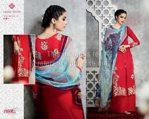 Red Coloured Long Embroidered Suit With Palazzo