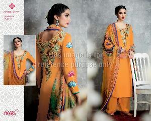 Apricot Orange Coloured Simple Suit With Dupatta