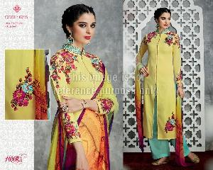 Yellow Coloured Long Suit With Palazzo and Dupatta
